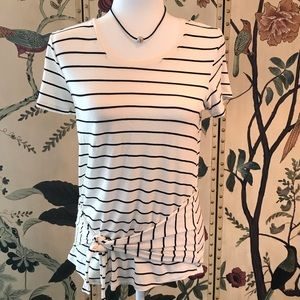 Maurices 24/7 Black And Ivory Striped Tee